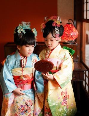 鎌倉七五三7歳写真 前撮り  双子でお祝い 4