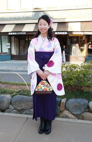鎌倉小学生卒業袴 水玉紺袴