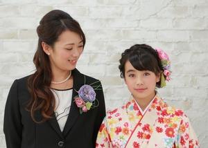 青コサージュ&髪飾り母娘ペア
