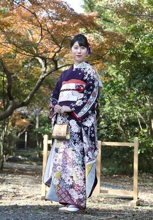 鎌倉市 成人式振袖 屋外ロケーションフォト 紅葉