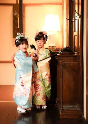 鎌倉七五三7歳写真 前撮り  双子でお祝い 7