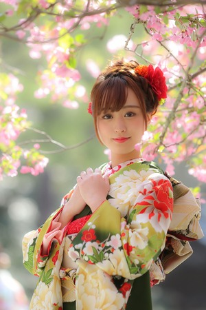 成人前撮り 屋外 桜撮影