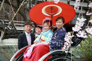 鎌倉、ロケーション、七五三、桜、家族写真、スタジオ、人力車