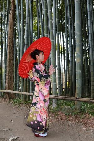鎌倉振袖ロケーション撮影竹林