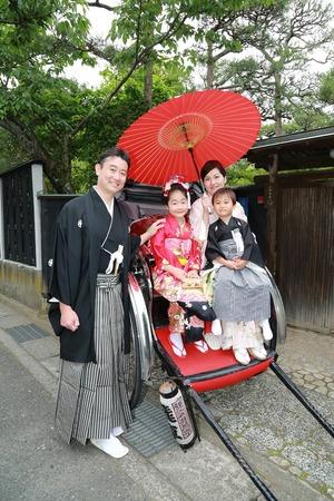 鎌倉七五三人力車ロケーション写真