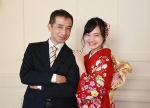 成人式前撮り家族写真 お父さん