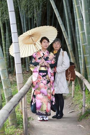 鎌倉振袖ロケーション撮影家族写真竹林