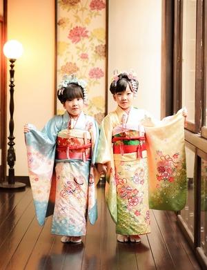 鎌倉七五三7歳写真 前撮り  双子でお祝い 2