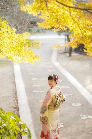 鎌倉 成人式 前撮り 紅葉(1)