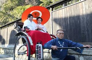 鎌倉成人振袖前撮り人力車ロケーション写真