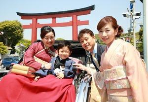 人力車屋外撮影 七五三5歳 家族写真
