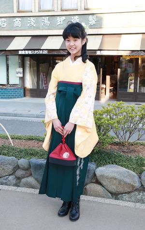 鎌倉小学生卒業袴 イエローグリーン袴