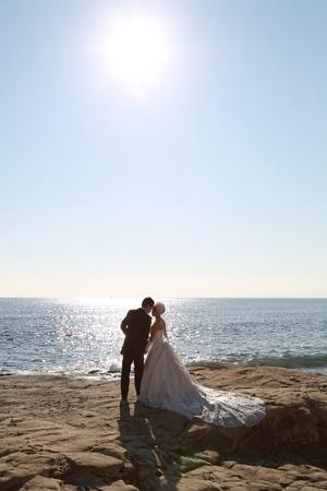 鎌倉婚礼洋装海ロケーション写真
