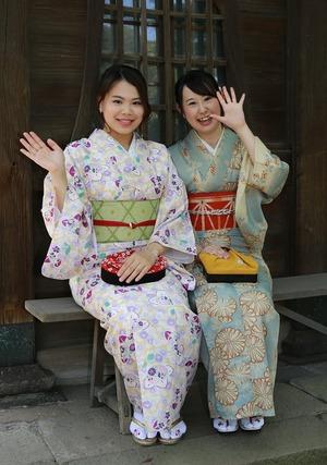鎌倉レンタル着物女友達ロケーション撮影