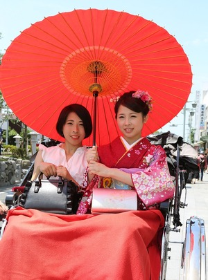 成人振袖人力車ロケーション写真鎌倉横浜横須賀