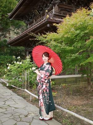 成人前撮り屋外撮影ロケーション 鎌倉 寺  庭園 秋