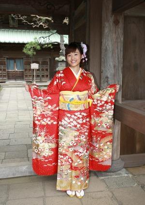 成人式 前撮り 屋外撮影 ロケーション写真 お寺山門 鎌倉