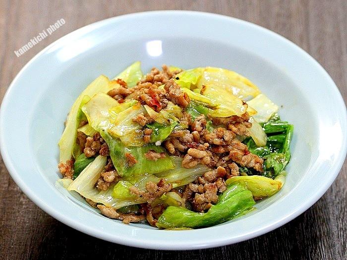 s-ひき肉とレタスのピリ辛炒め1