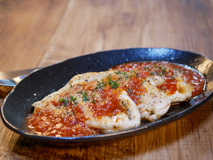 鶏ささみ肉のソテートマトソースかけ2