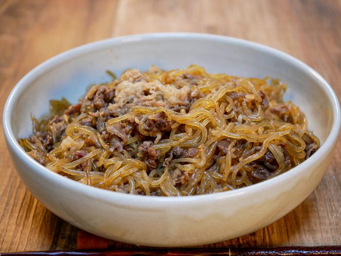 糸こんのすき炒め煮(牛肉入り)2
