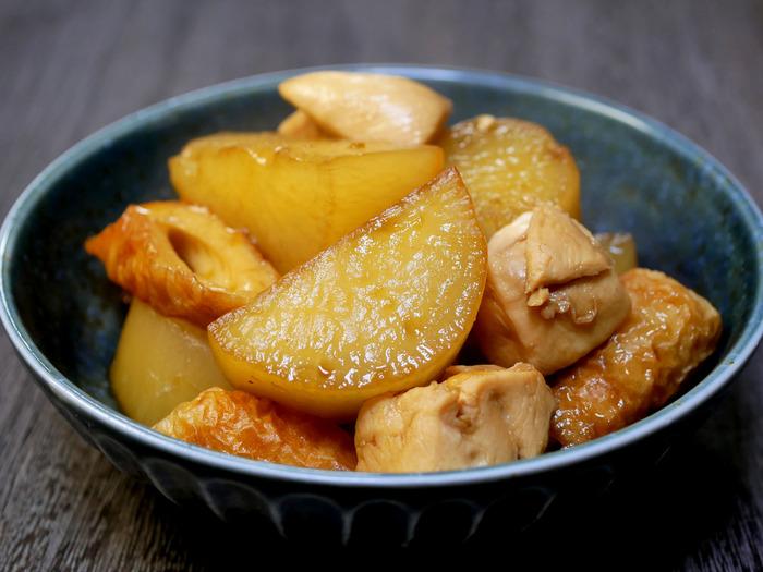 大根と鶏ささみ肉、竹輪の煮物のコピー