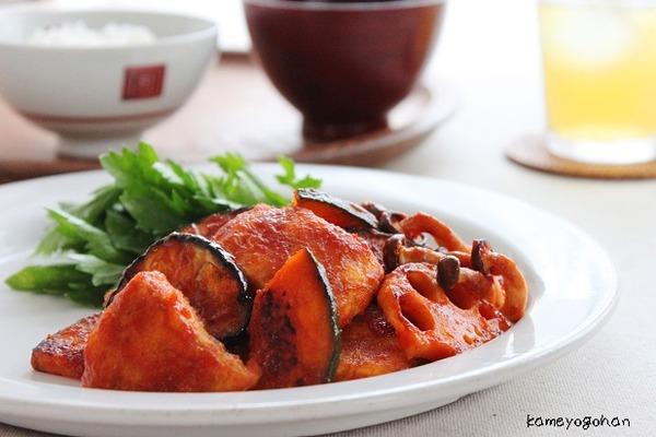 ブログ鶏むね肉と秋野菜のケチャップカレー風味画像