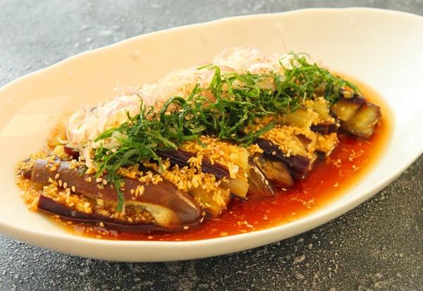 レンジ蒸し茄子のサラダ(横)b
