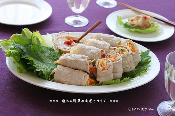 ブログ塩もみ野菜の肉巻きサラダ(ヒキ)