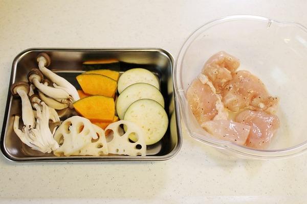 レシピ鶏と秋野菜
