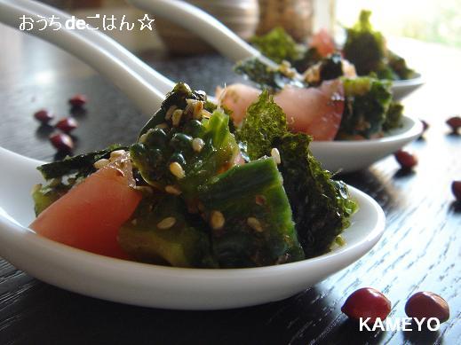 ゴーヤと海苔のコロコロサラダ