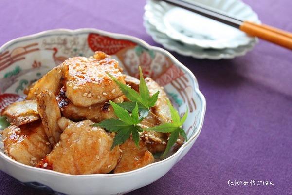 ブログ鶏ごぼうの甘辛柚子こしょう風味(横ヨリ)_かめ代
