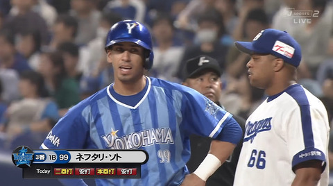(*^◯^*)DeNAソト、1軍昇格初日に4安打の活躍!