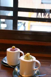 珈琲ぶりこの紫芋モンブランと抹茶モンブラン