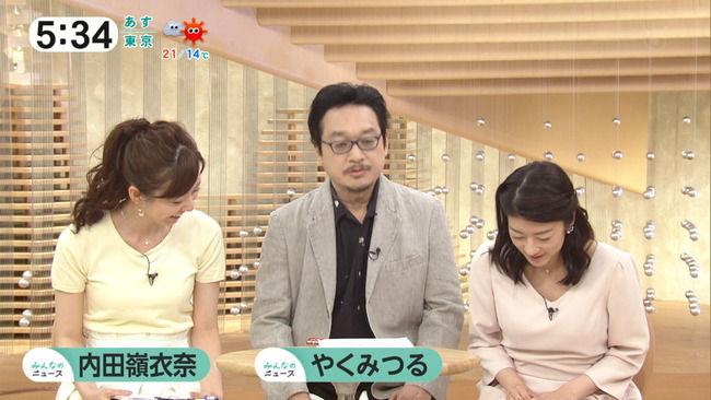 【画像】内田嶺衣奈アナのおっぱいのふくらみたまらんww(みんなのニュース)