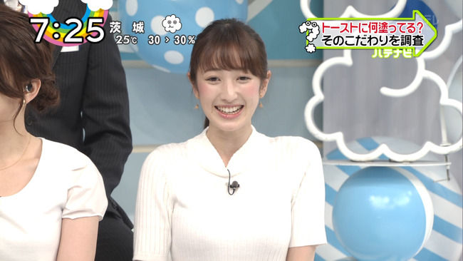 ZIP!の團遥香さん、清楚な顔して乳がデカくてエッロいwwww