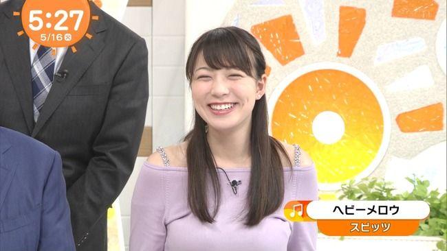 めざましテレビ阿部華也子が乳を手すりに乗っけてたぞww