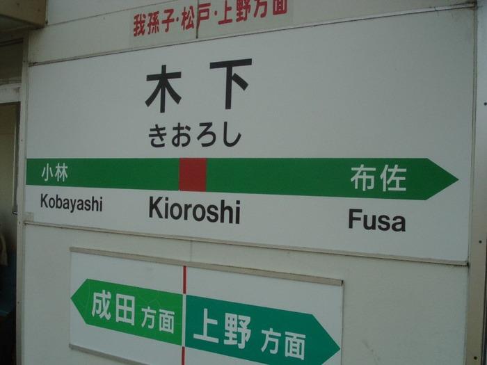 JR木下駅駅名標