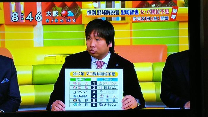 元ロッテ・里崎智也さん、2017年の順位予想を発表