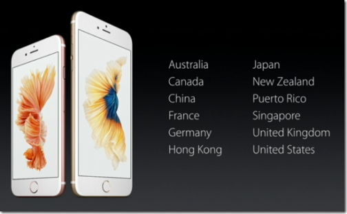 iPhone 6s 初期発売国