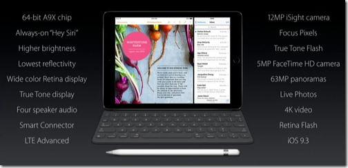 7インチ iPad Pro 機能一覧