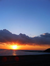 志原海岸の夕日2