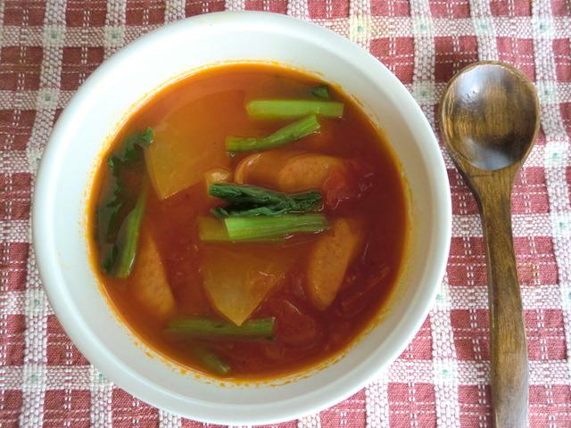 かぶとソーセージのスープ3