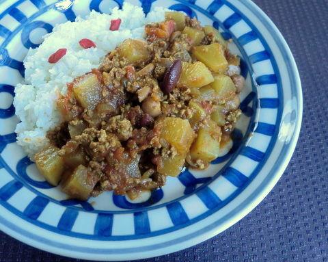 大根と豆のカレー1