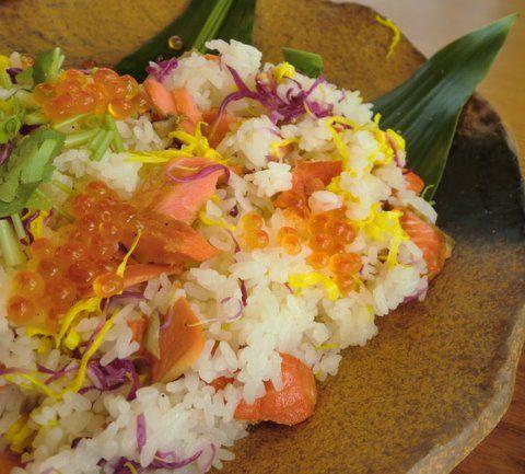 鮭と菊の混ぜごはん