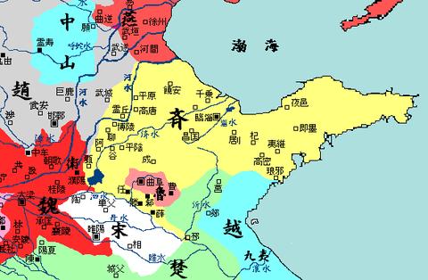 戦国時代(紀元前350年頃)東方地図