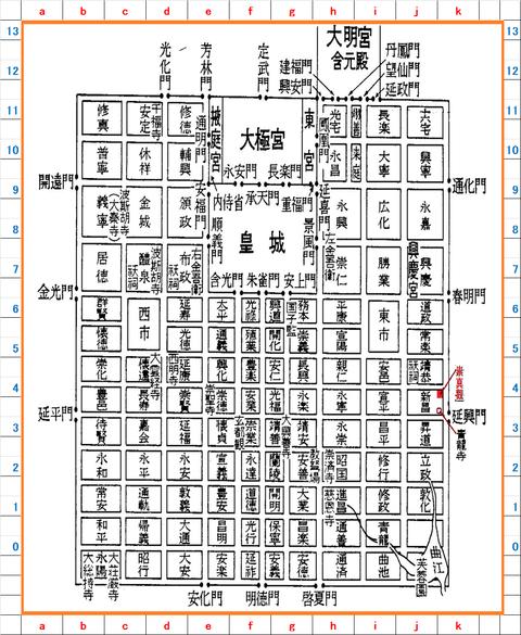 長安城図 座標