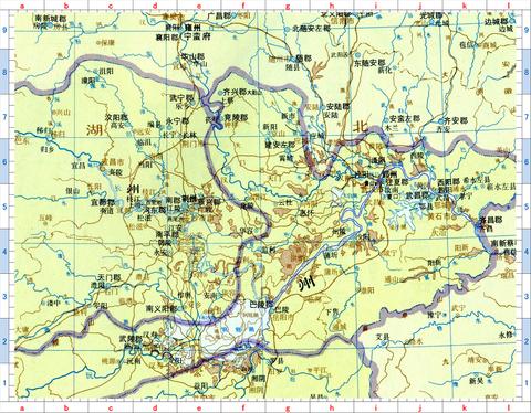 洞庭湖北 荊州江陵 卾州武漢 郢州 方面地図01