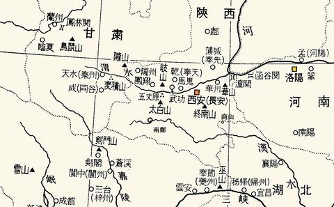 秦州同谷成都紀行地図