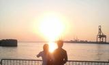 大阪湾の夕陽2