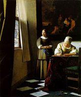 手紙を書く婦人と召使